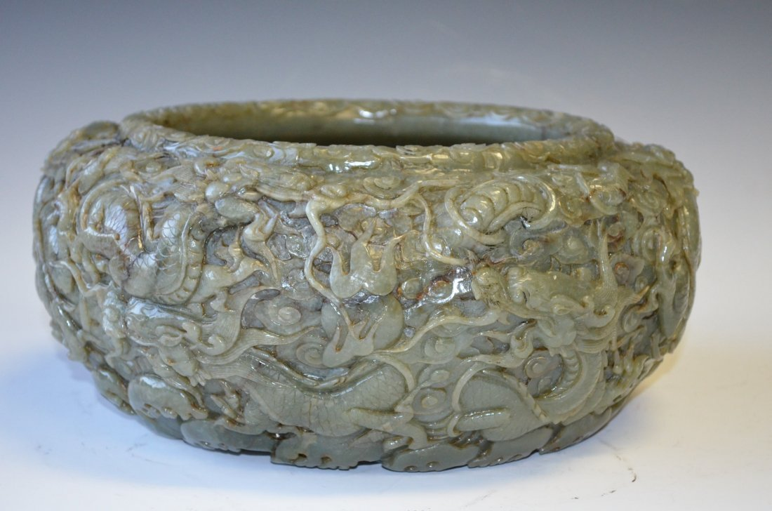 168: Chinese Celedon Jade Finely Carved Jade Bowl