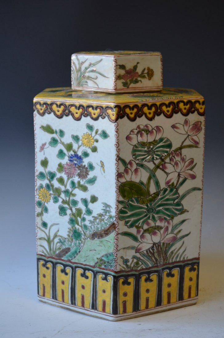 5: Chinese Hexoganal Famille Rose Lided Tea Jar