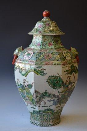 Large Chinese Famille Verte Porcelain Lided Jar