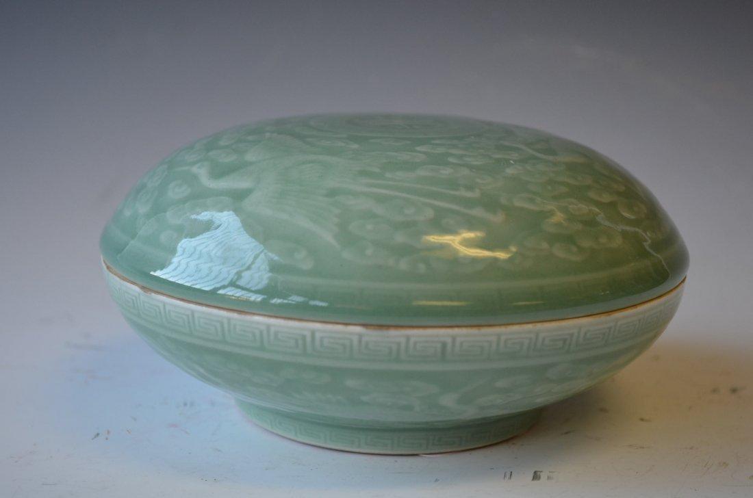 10: Chinese Celedon Glazed Covered Dish