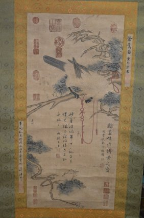 Chinese Scroll Painting Of A Parrot
