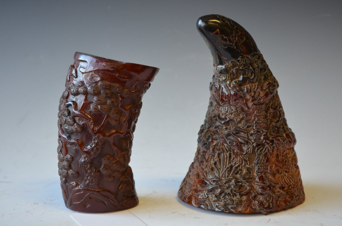 16: Two Carved Horn Pieces