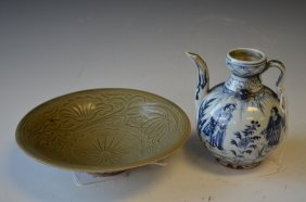 Two Chinese Porcelains, A Bowl & A Ewer