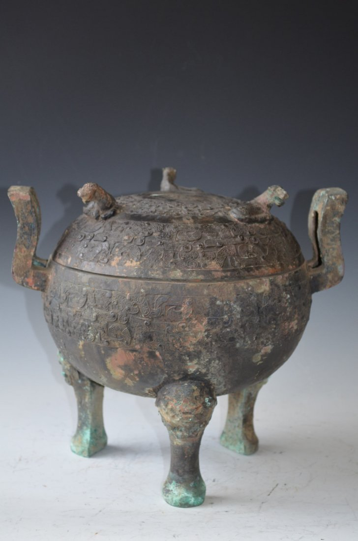 118: Chinese Archaic-Style Bronze Covered Food Vessel