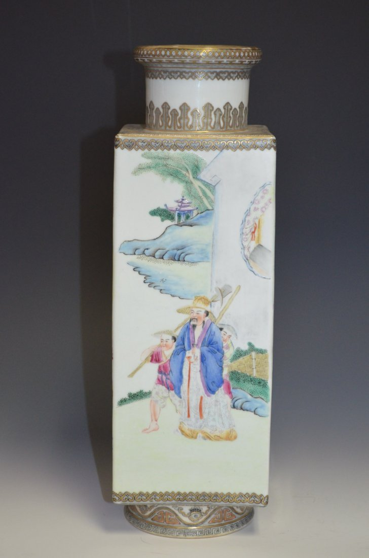 Chinese Famille Rose Enamel Painted Square Vase