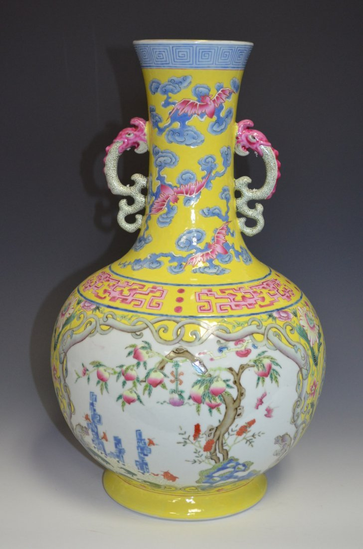 Chinese Yellow Ground Famille Rose Porcelain Va