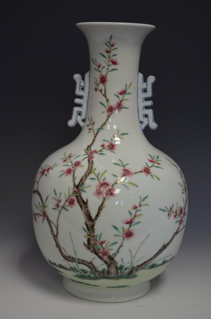 Chinese Famille Rose Porcelain Rose with Blosso