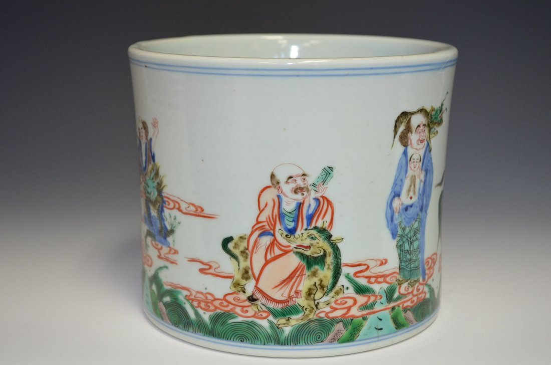 Chinese Famille Verte Brush Pot with Lohans & F