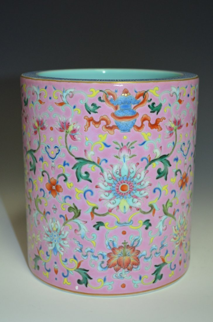Chinese Famille Rose Pink Ground Brush Pot