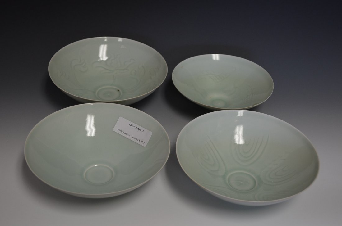 3: Four Chinese Celedon Glazed Porcelain Bowls