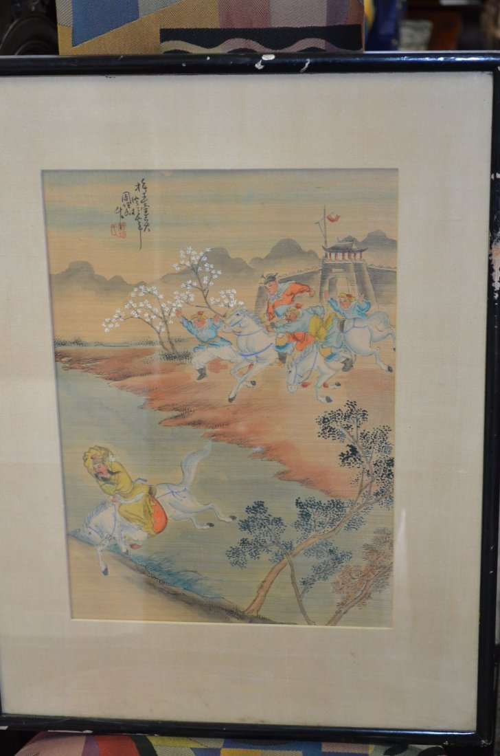 12: Chinese Framed Painting of Warriors