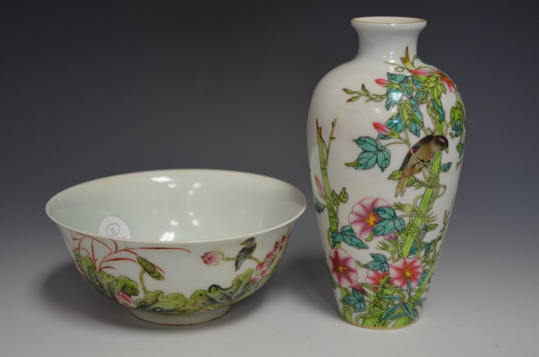 14: Two Chinese Famille Rose Porcelain Items