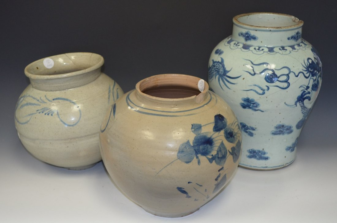 19: Three Chinese Blue & White Porcelain Dragon Vases