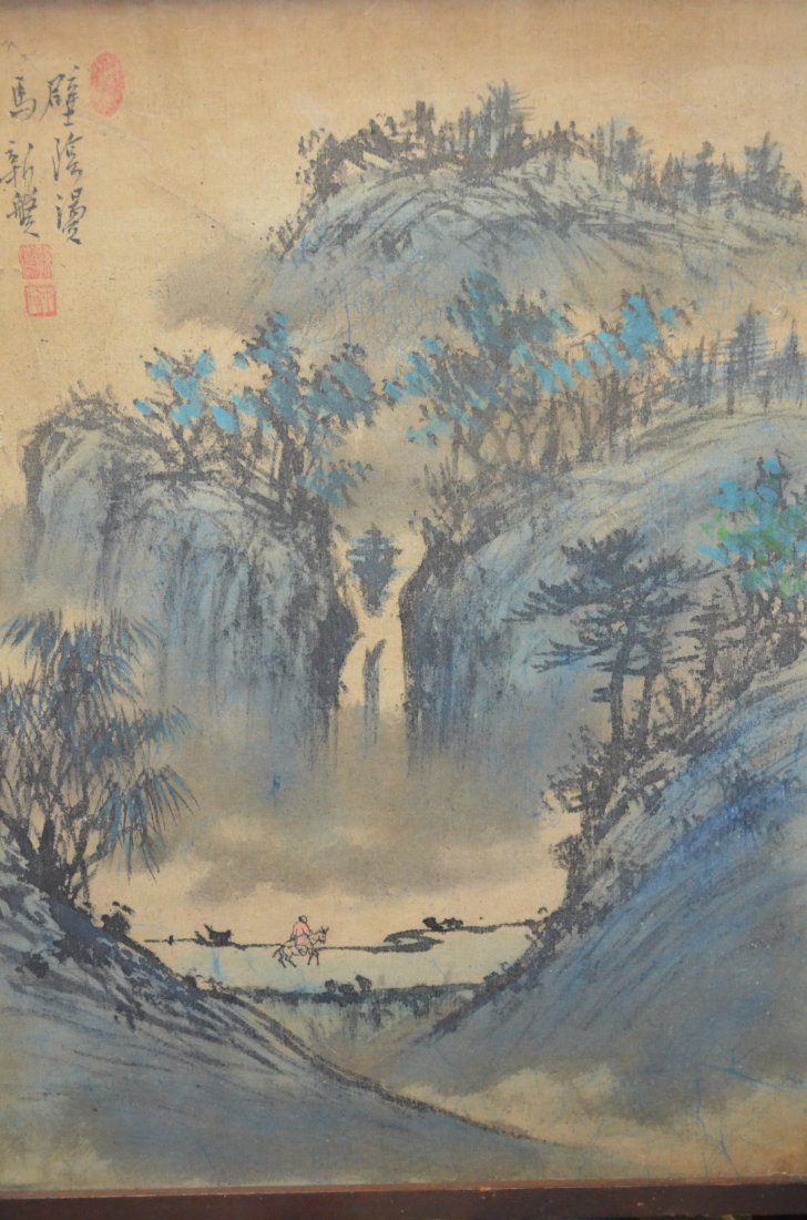 21: Chinese Framed Painting of a Mountain Landscape