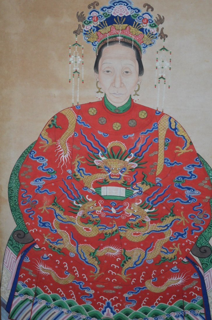 229: Chinese Ancestor Painting of the Emperor & Empress - 2