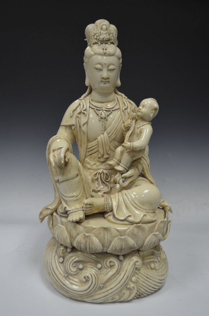 Chinese Blanc De Chine Model of Seated Quan Yin