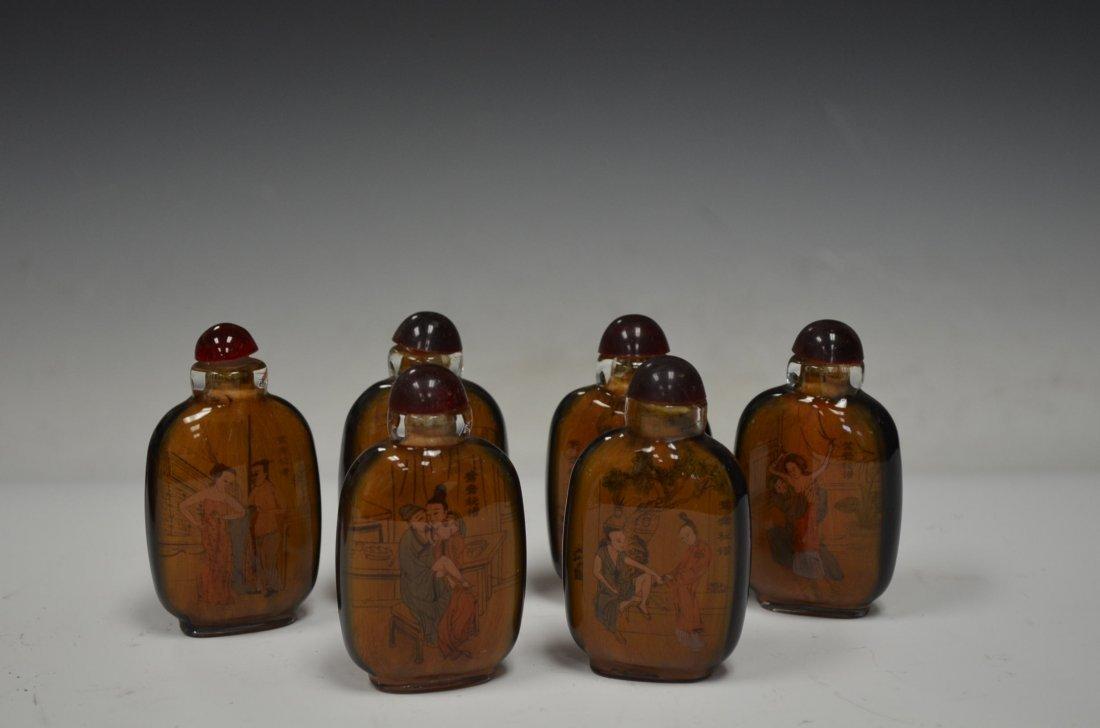 Set of Six Glass Chinese Snuff Bottles