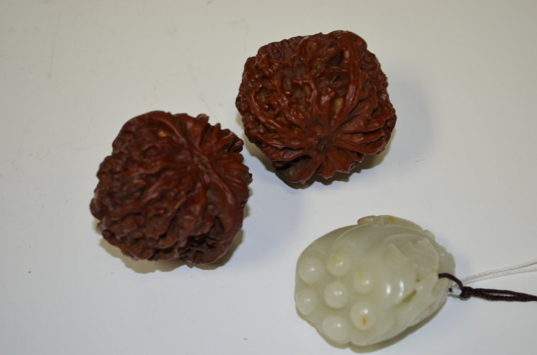 Carved Chinese White Jade Pendant & Two Walnuts