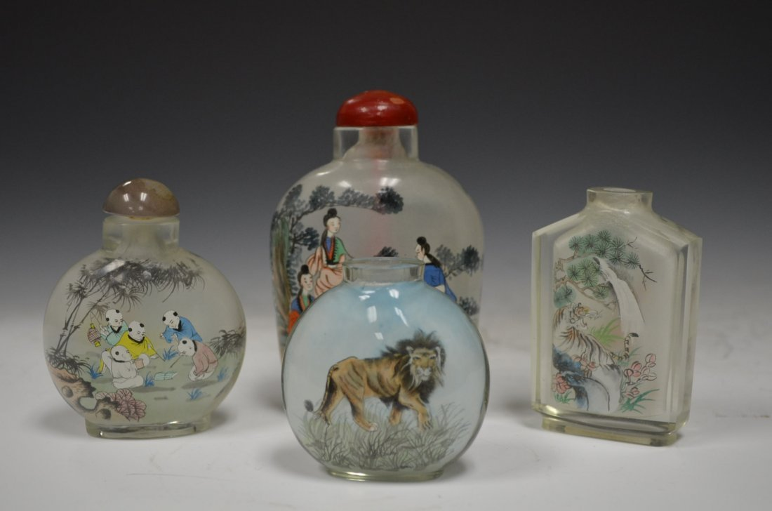Four Chinese inside Painted Glass Snuff Bottles