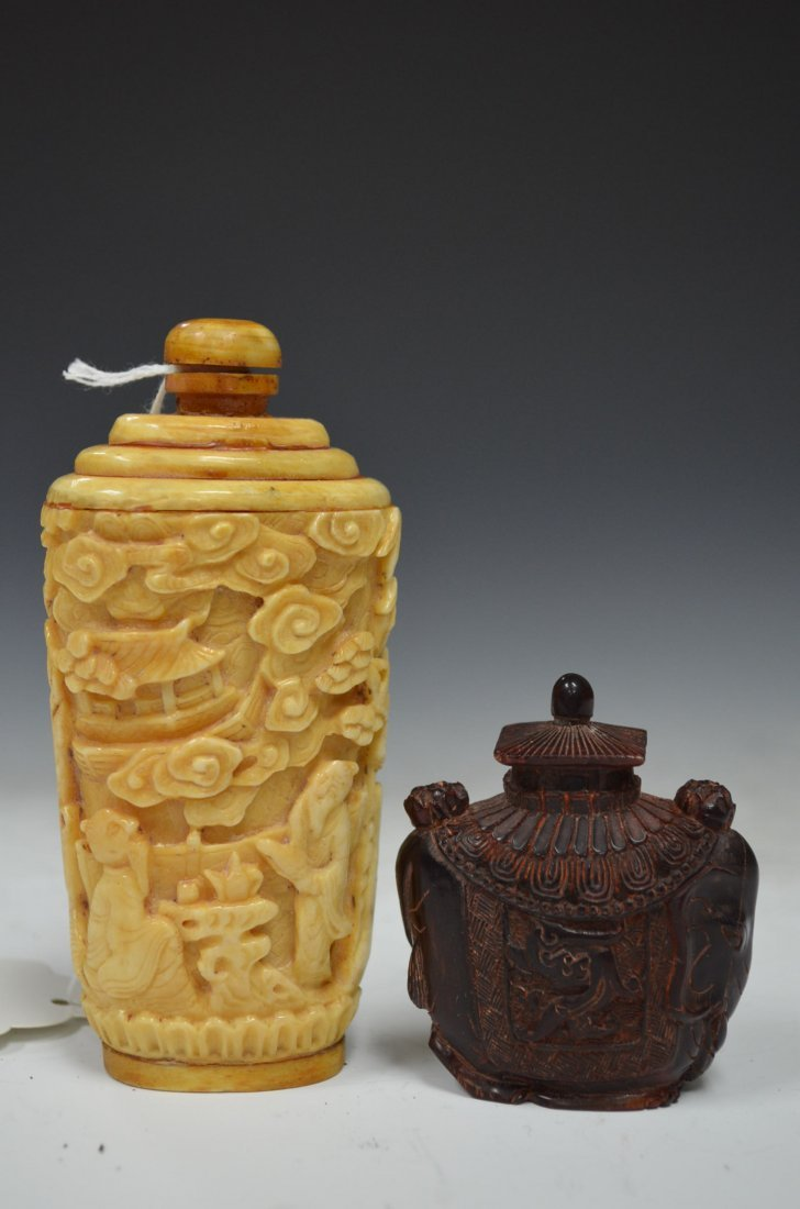 Two Chinese Carved Bone & Horn Snuff Bottles