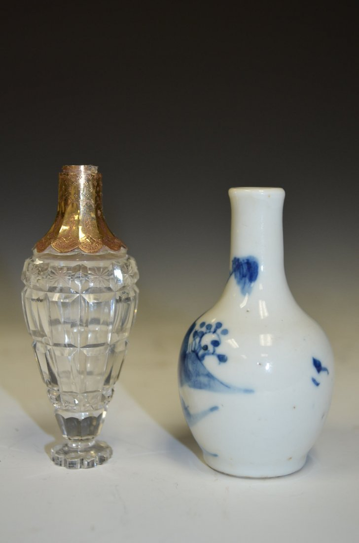 Two Bottles; One Chinese Blue & White and One Glass