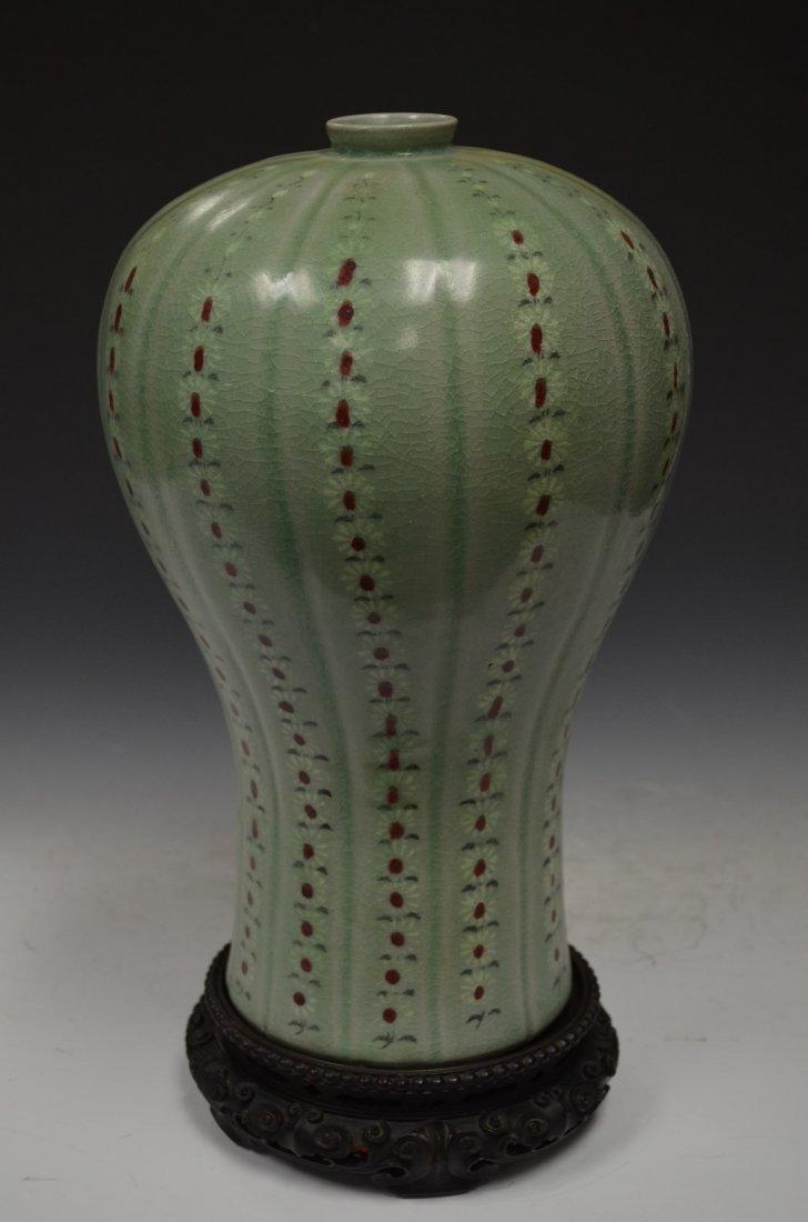 Korean Celedon Vase with Zitan Wood Base