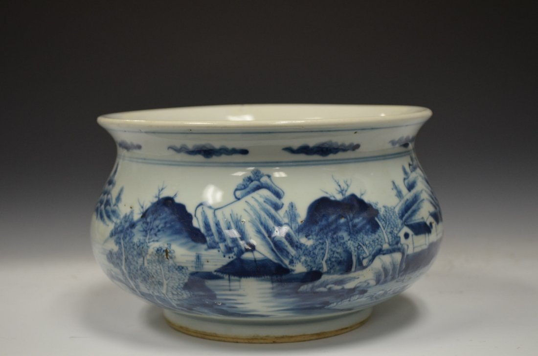 Chinese Blue & White Glazed Porcelain Bowl