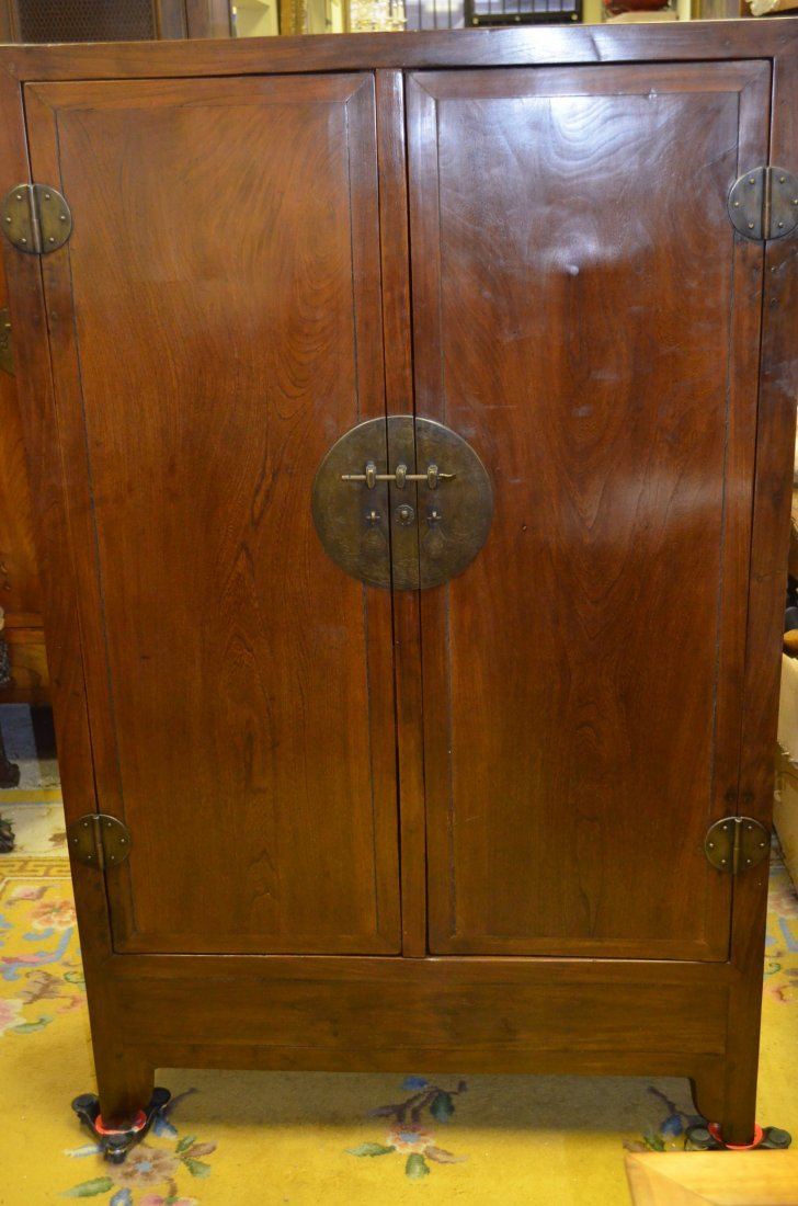 Chinese Scholar Cabinet with Sculpted Fittings