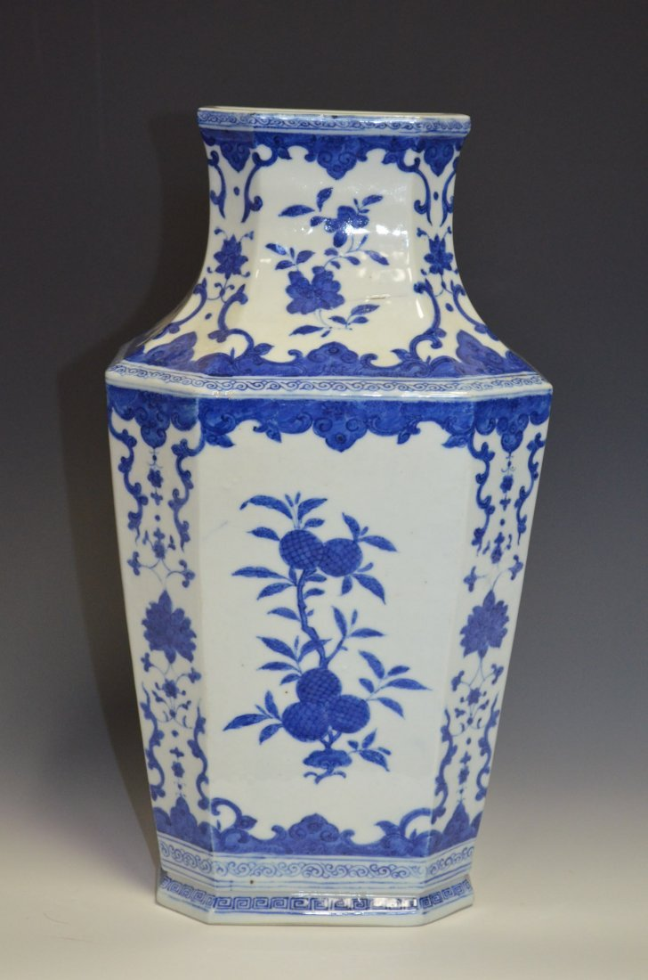 Chinese Blue & White Glazed Hexoganal Porcelain Vase