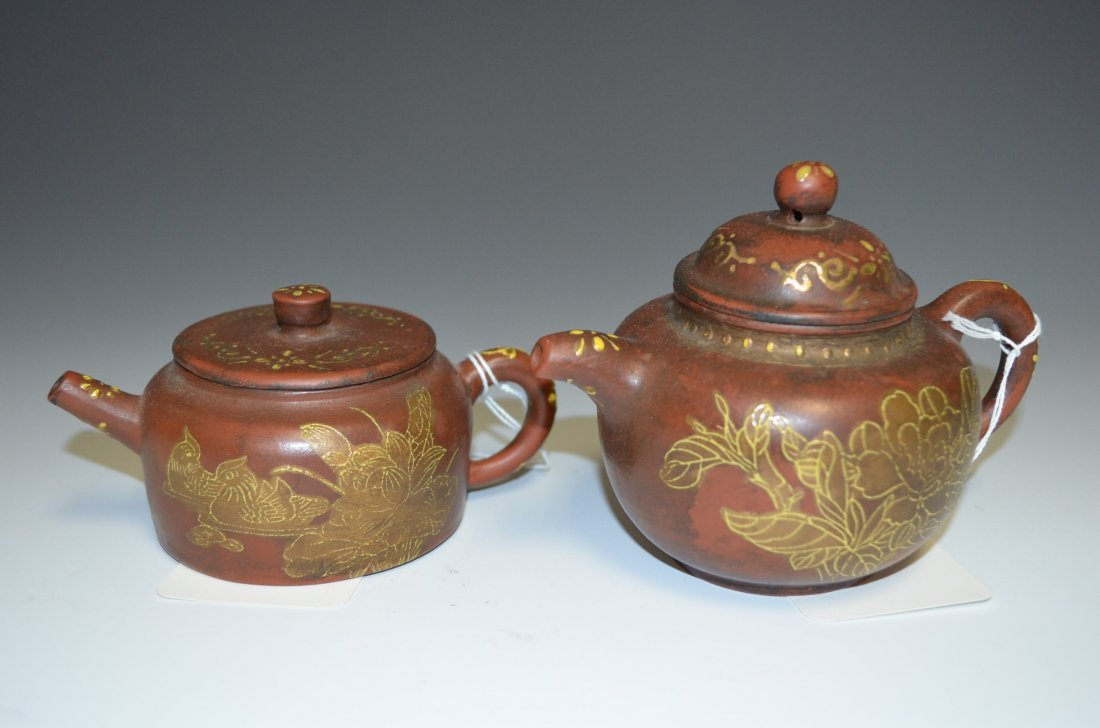 Two Chinese Red Clay and Gold Gilt Tea Pots