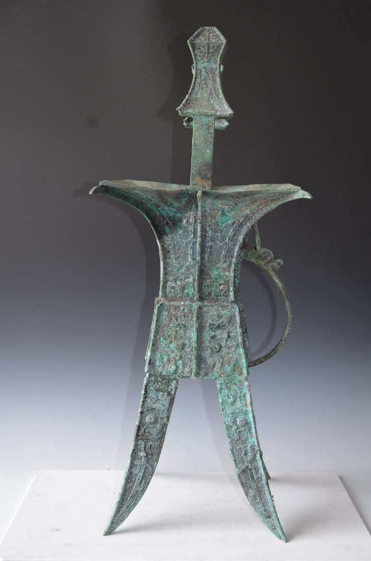 Large Chinese Bronze Wine Vessel with Four Legs