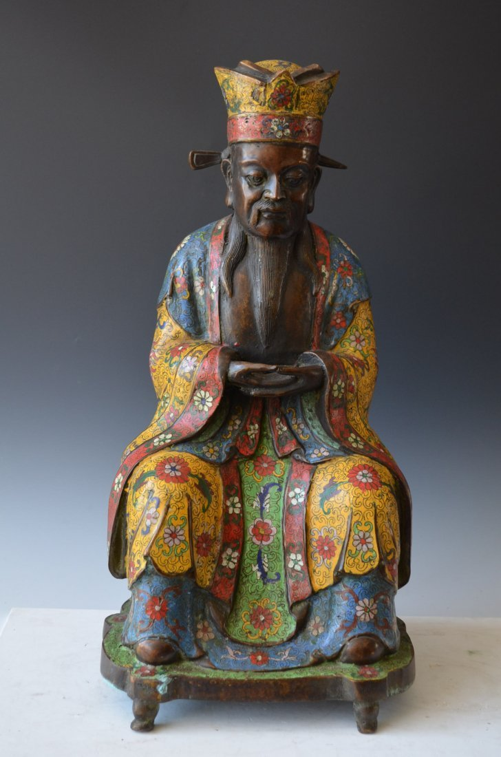 Chinese Bronze and Enamel Model of a Nobleman
