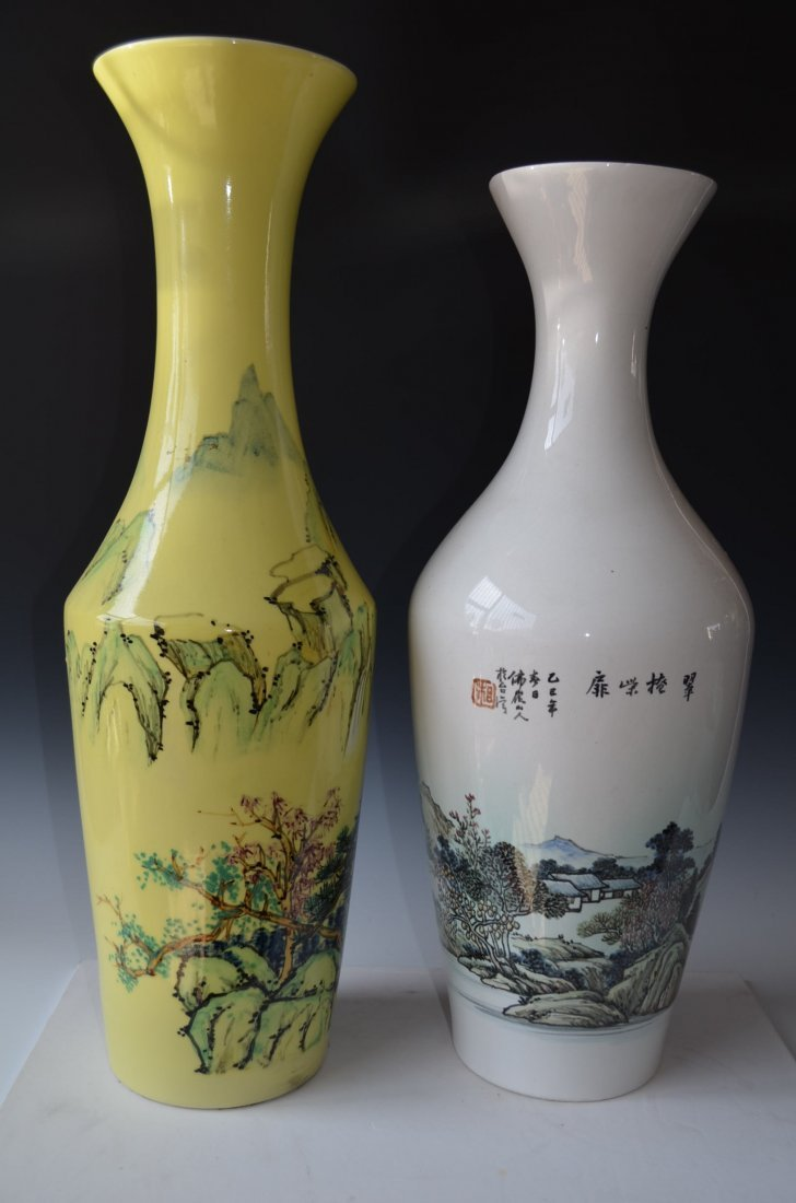 Two Chinese Porcelain  Tall Vases