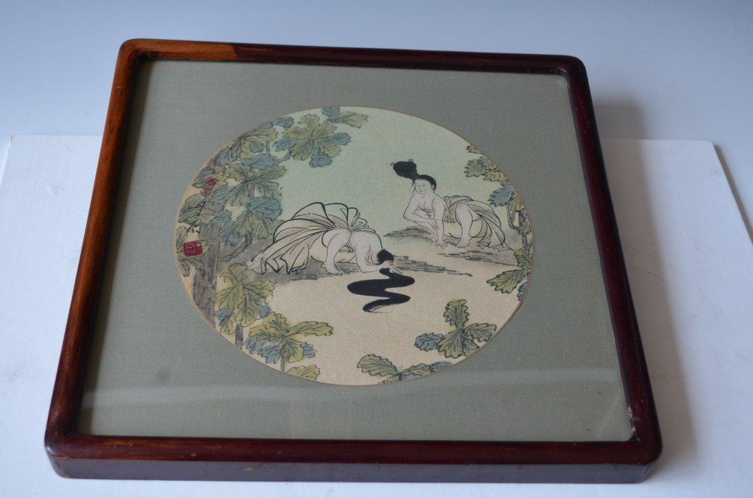 Korean Framed Ink & Color Painting Signed Dan Won