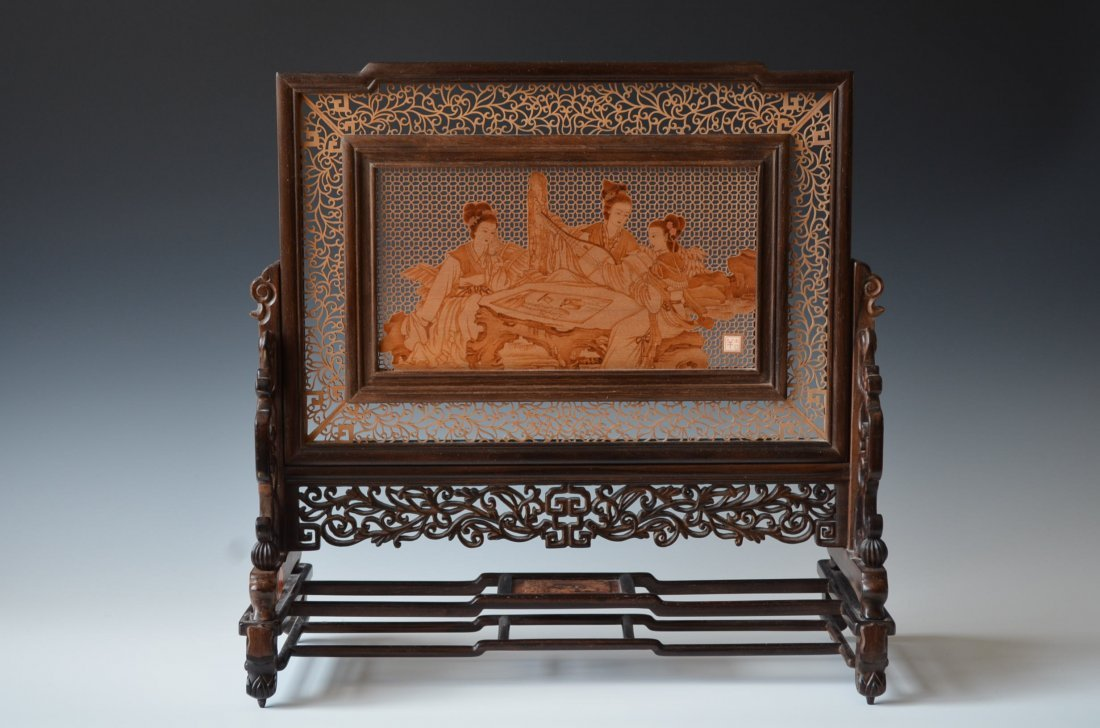 Chinese Carved Cedar Wood Table Screen