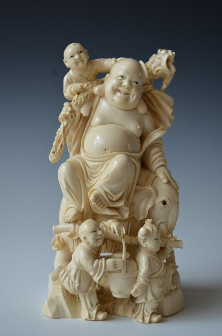 Chinese Carved Ivory Buddha on Elephant Back with Three