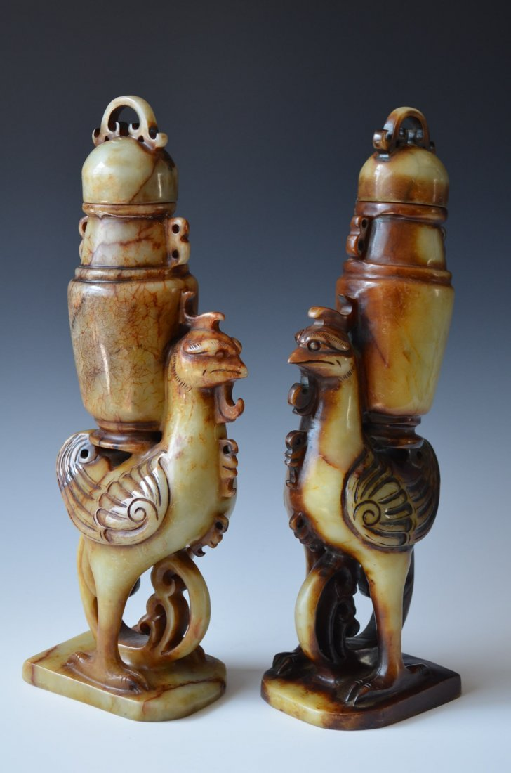 Pair of Chinese Carved Shoushan Stone Phoenix Vases