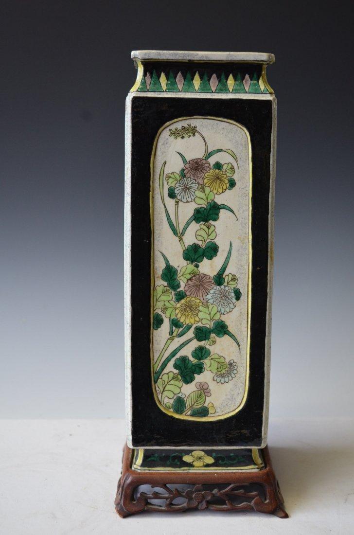 Chinese Black Ground Famille Verte Square Porcelain Vas