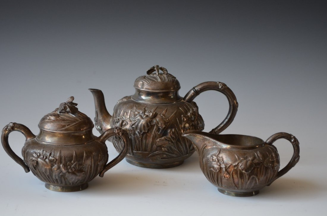 A Three Piece Japanese Silver Tea Set