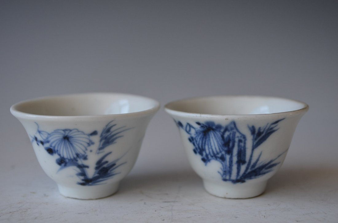 Two Chinese Blue & White Glazed Small Wine Cups