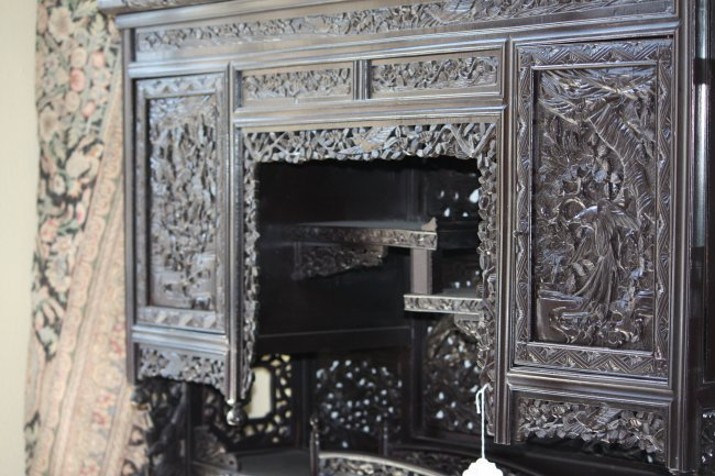 Chinese Carved Wood Cabinet Color Black
