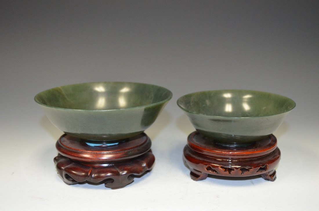 Two Spinach Jade Bowls