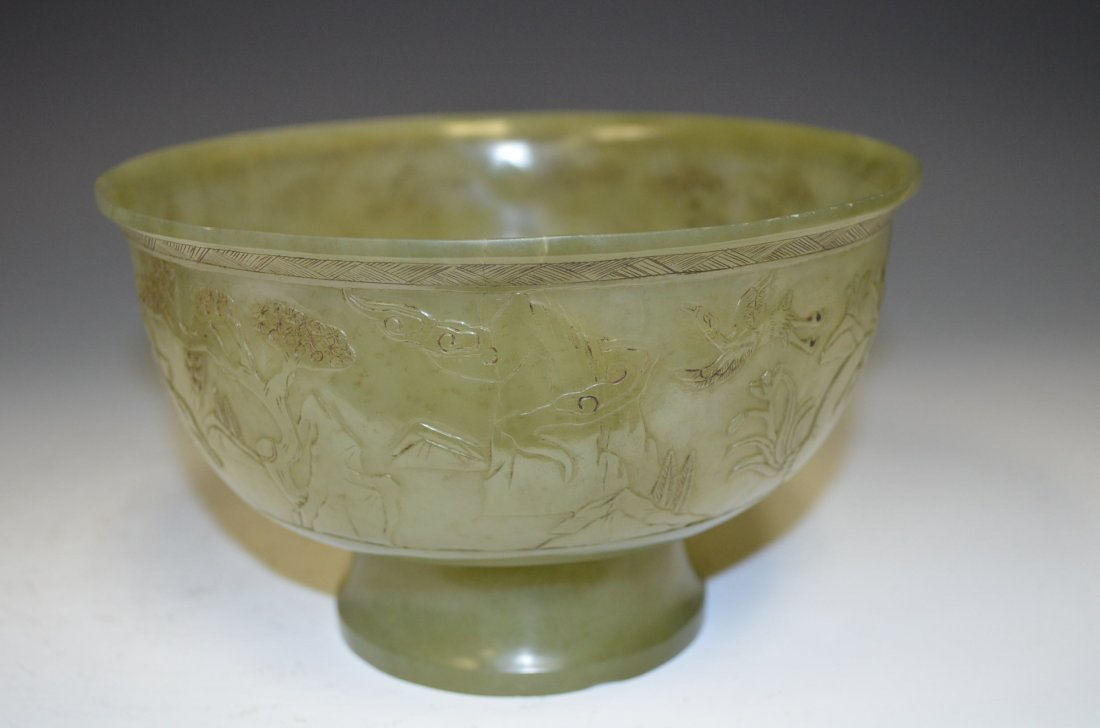 Carved Celadon Footed Bowl