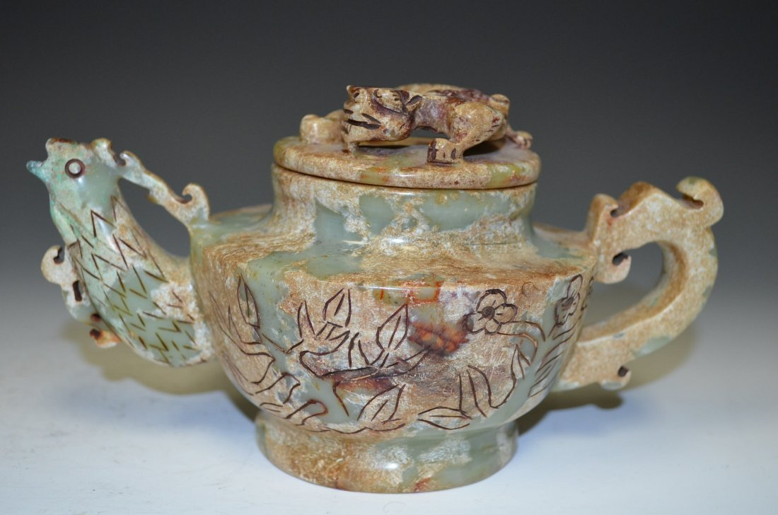 Carved Celadon Jade Tea Pot with Russet Suffusion