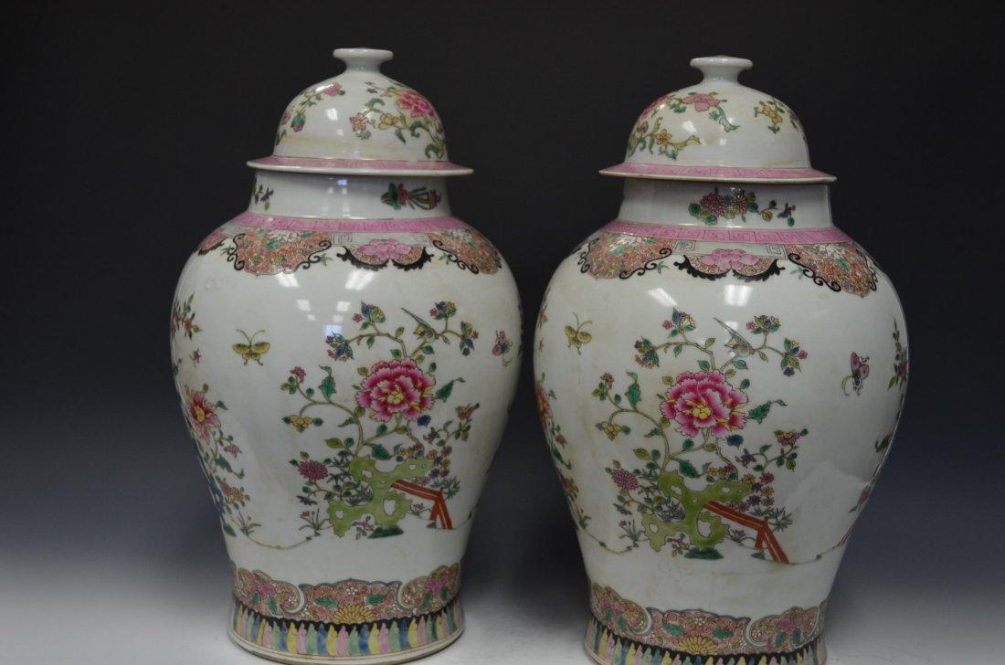 Pair of Famille Rose Porcelain Lidded Jars