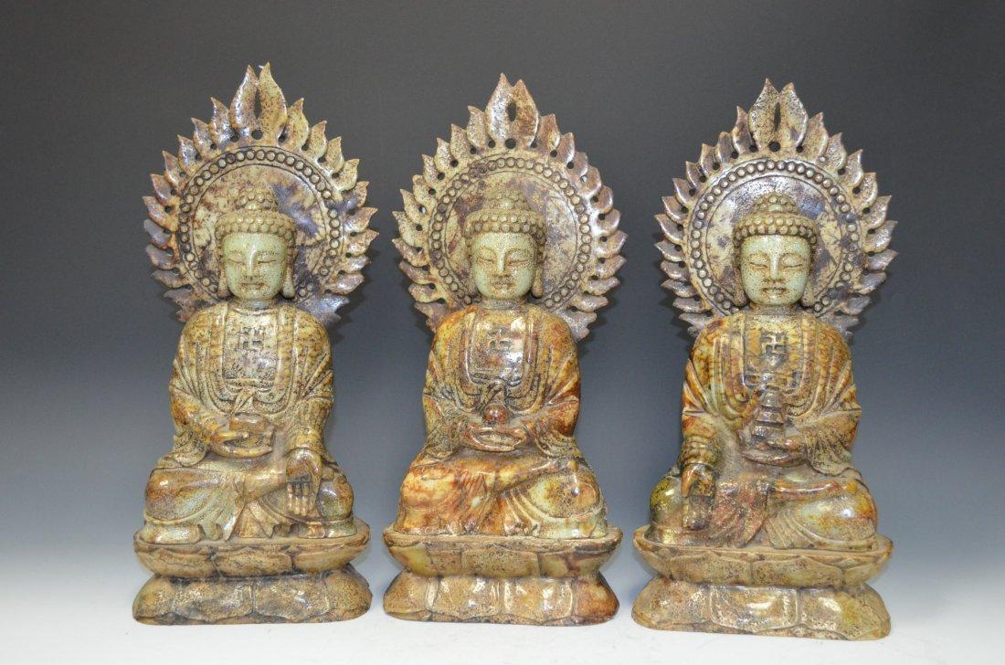 Three Carved Soapstone of Seated Buddha