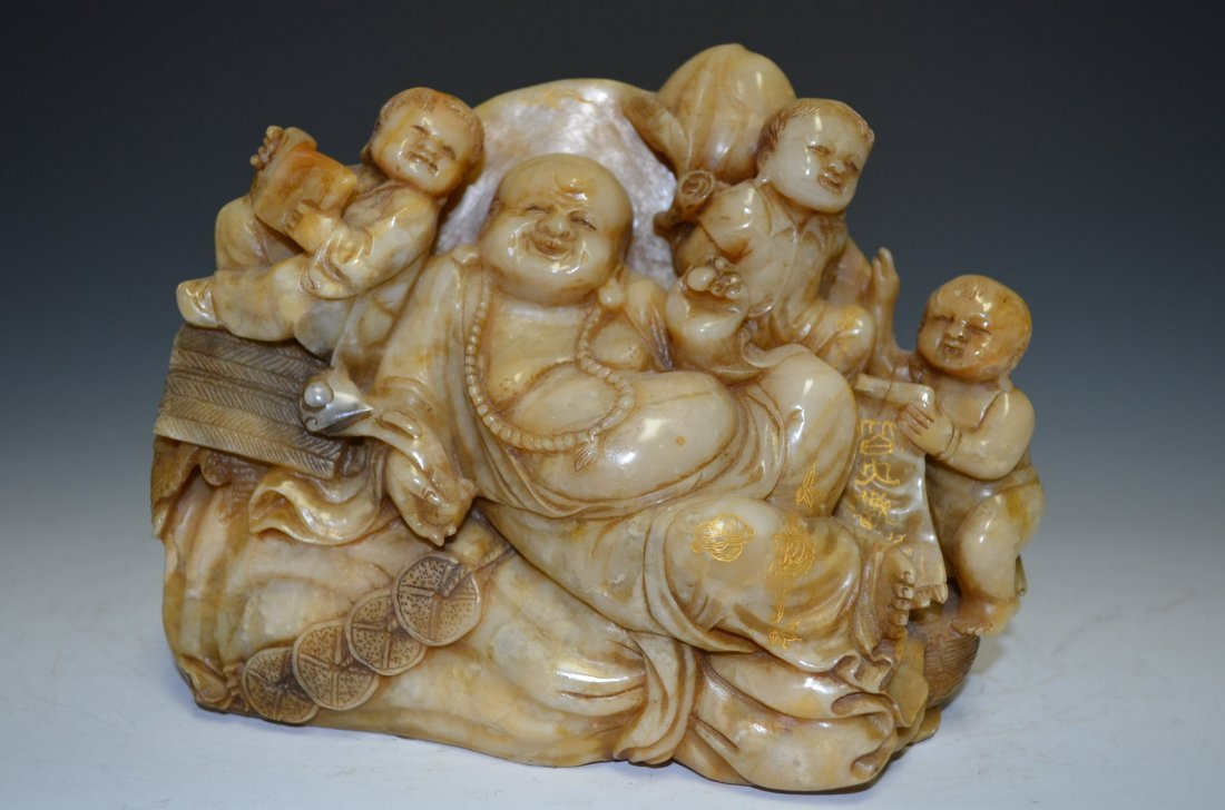 Carved Soapstone Model of Seated Buddha with Three Boys