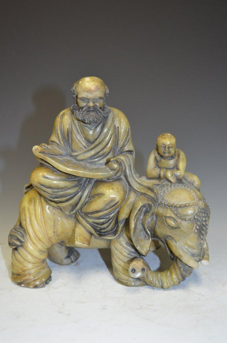 Carved Soapstone Model of Seated Lohan on Elephant Back