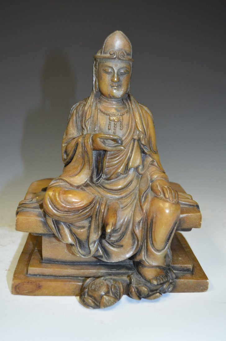 Carved Soapstone of a Seated Quan Yin on Throne