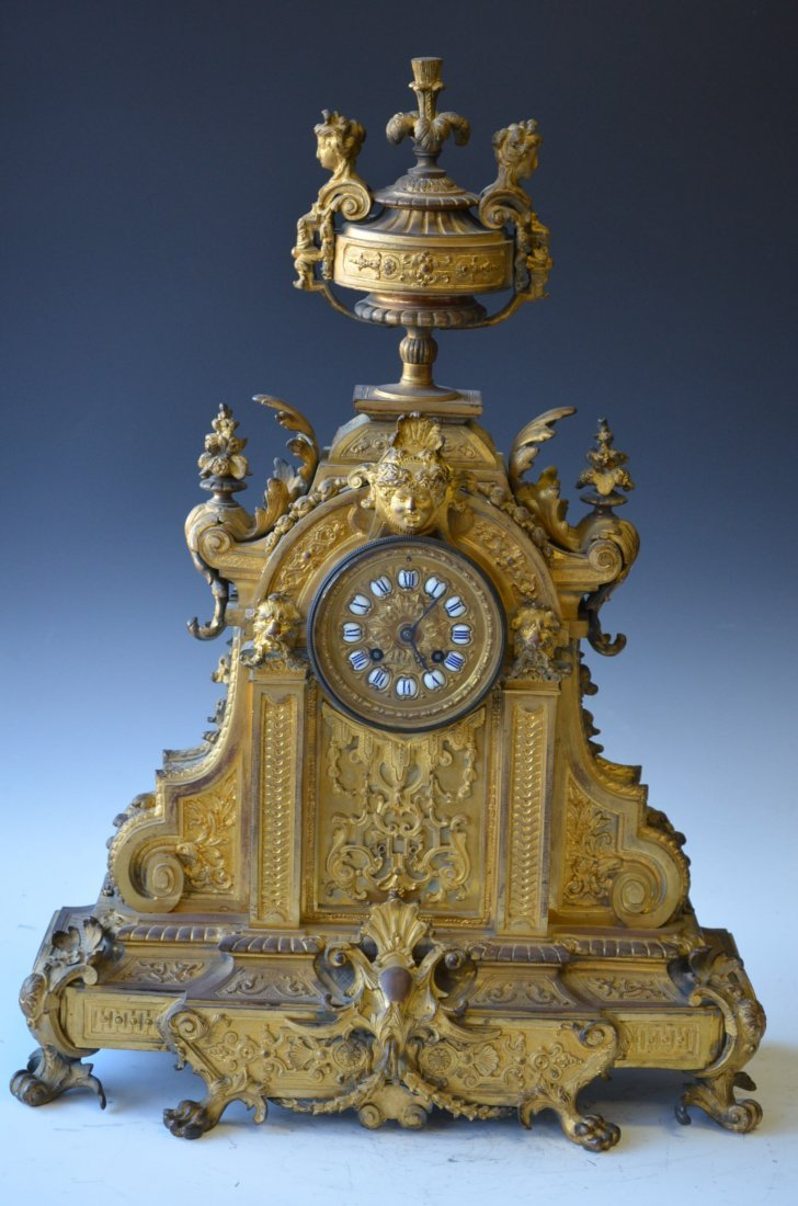 An Antique French Bronze Mantle Clock